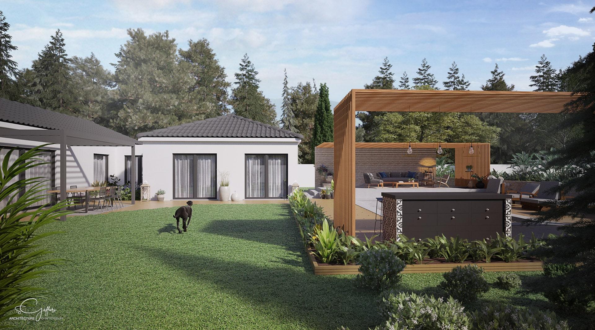 Nature et design à la fois, le jardin est la continuité de la maison, alliant bois et éléments plus modernes.