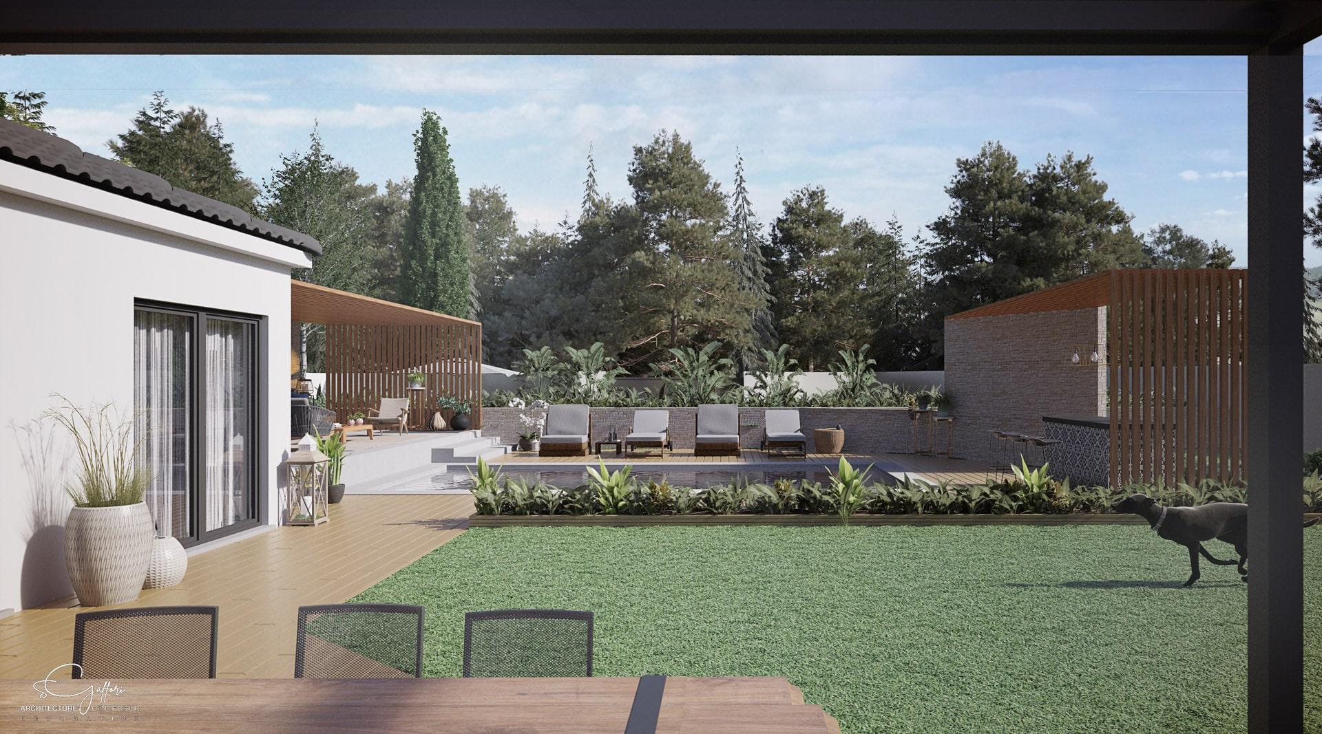 L'esprit nature, présent également dans la pièce à vivre de cette belle villa, est conservé grâce à l'espace gazon en central. Le bois et son chemin d'accès le long des chambres créent du lien entre les espaces. Les bains de soleil lient l'espace salon à l'espace bar.